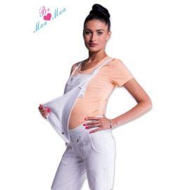Be MaaMaa Těhotenské šaty/sukně s láclem - granátový melírek
