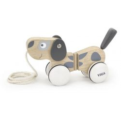 VIGA Edukační dřevěná hračka tahací - Pejsek šedo-bílý
