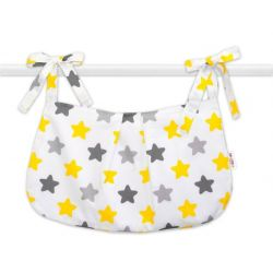 Baby Nellys Kapsář na hračky Barevné hvězdíčky - žluté/šedé