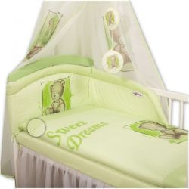 Baby Nellys Povlečení Sweet Dreams by Teddy - zelený - 135x100