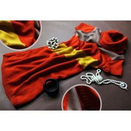 Be MaaMaa Těhotenská svetrová roláková tunika JULIE - červená-hořčice