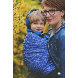 Little FROG Žakárový tkaný šátek na nošení dětí - Blue Hourglasses - L (40)